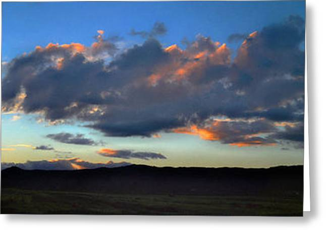 Sunset And Silhouettes - Panoramic Greeting Card by Glenn McCarthy