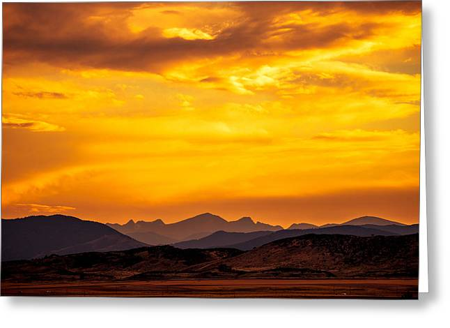 Fort Collins Greeting Cards - Sunset and Smoke Covered Mountains Greeting Card by Rebecca Adams