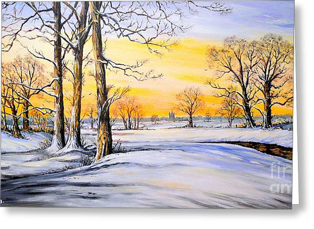 United Kingdom Mixed Media Greeting Cards - Sunset and Snow Greeting Card by Andrew Read