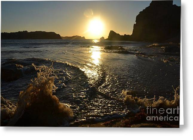 Cliffs Pyrography Greeting Cards - Sunset and Splash Greeting Card by Miryam  UrZa