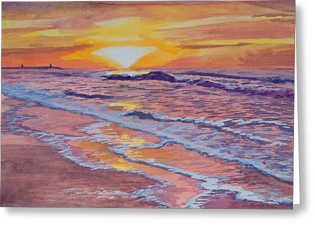 Salmon Paintings Greeting Cards - Sunset and Surf Greeting Card by Linda Wilson