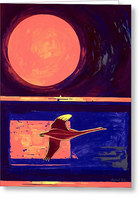 Flying Bird Greeting Cards - Sunset And Swan, 2003 Gouache On Paper Greeting Card by Derek Crow