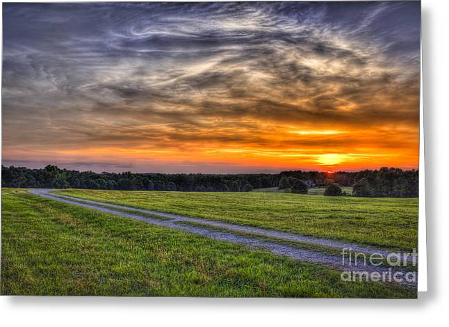 Sunset and The Road Home Greeting Card by Reid Callaway