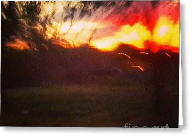 Haze Paintings Greeting Cards - Sunset and Trees Greeting Card by Genevieve Esson