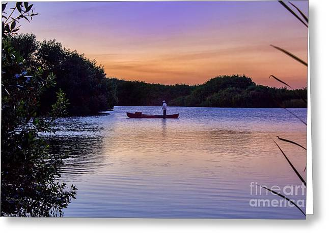 Gold Trout Greeting Cards - Sunset Angler Greeting Card by Rene Triay Photography