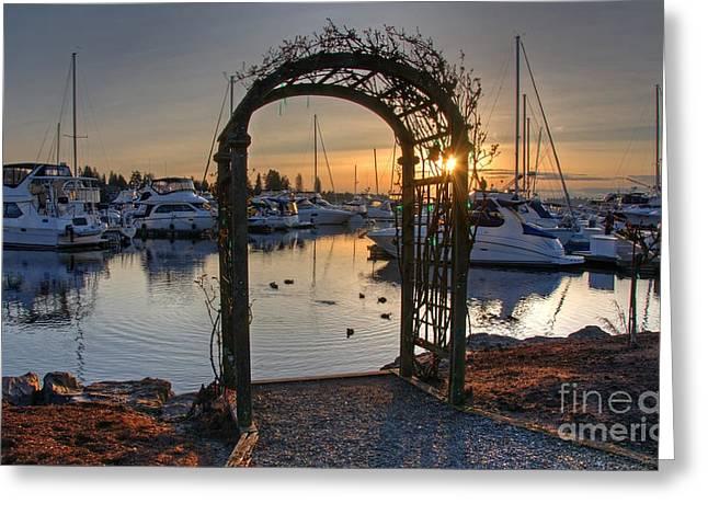 Boats At Dock Greeting Cards - Sunset Arbor off Lake Washington Wash Greeting Card by Valerie Garner