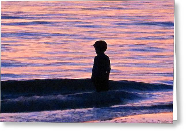 Children At Beach Greeting Cards - Sunset Art - Contemplation Greeting Card by Sharon Cummings