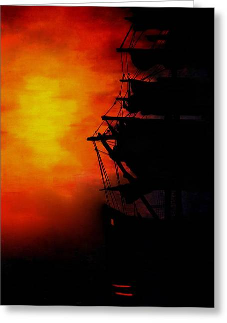 Fog At Sea Greeting Cards - Sunset as a misty fog arrives Greeting Card by Joe Lisowski