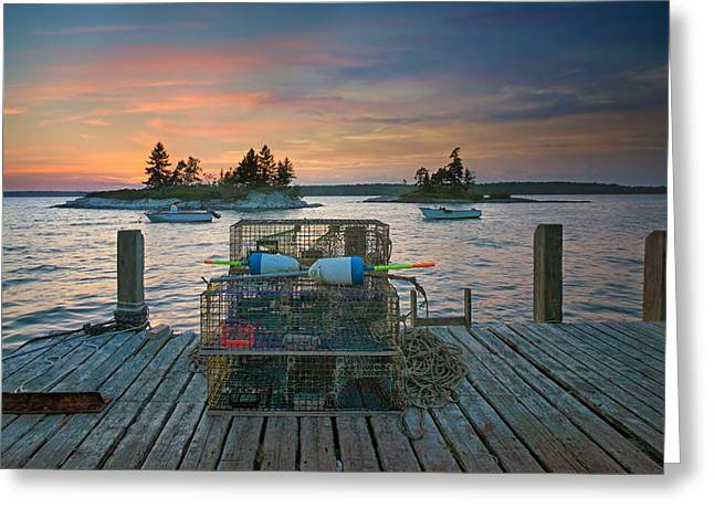 Sunset At Allen's Dock Greeting Card by Darylann Leonard Photography