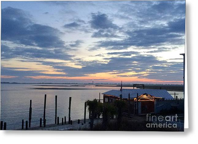 Sunset At American Fish Co       Safe Havens Ivans In Southport Nc Greeting Card by Shelia Kempf