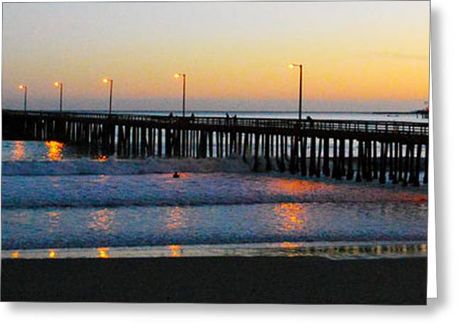 Artistic Photography Greeting Cards - Sunset At Avila Beach Pier II Greeting Card by Barbara Snyder