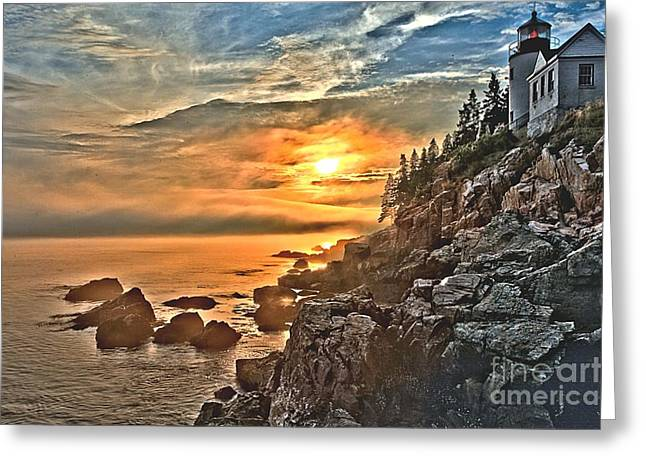Maine Lighthouses Greeting Cards - Sunset At Bass Harbor Greeting Card by Adam Jewell