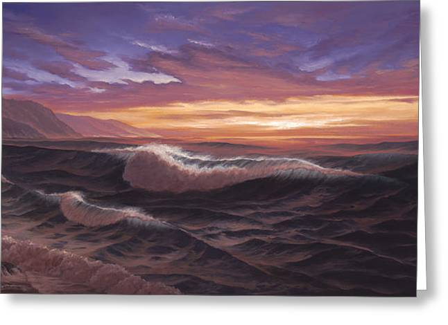 Big Sur Paintings Greeting Cards - Sunset at Big Sur Greeting Card by Del Malonee