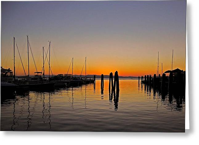 Farbenfroh Greeting Cards - Sunset at Burlington Bay - Vermont Greeting Card by Juergen Weiss