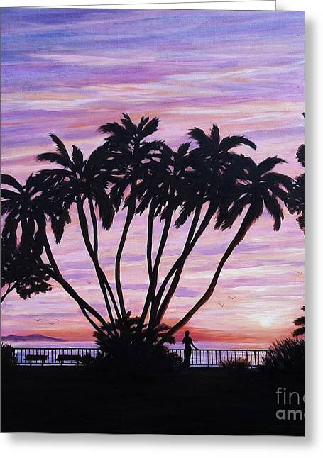 Beach Sunsets Drawings Greeting Cards - Sunset at C Street Ventura Greeting Card by Tina Obrien