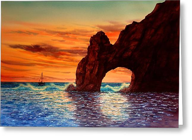 Baja California Greeting Cards - Sunset At Cabo San Lucas Greeting Card by John YATO