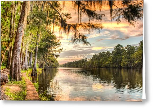 Landscape Photos Greeting Cards - Sunset at Caddo state park HDR Greeting Card by Geoff Mckay