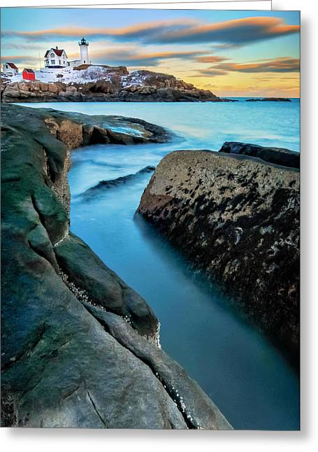 Ethereal Beach Scene Greeting Cards - Sunset at Cape Neddick Light- Maine Greeting Card by Thomas Schoeller