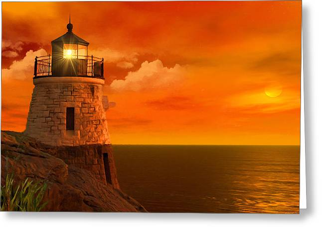 New England Lighthouse Photographs Greeting Cards - Sunset at Castle Hill Greeting Card by Lourry Legarde