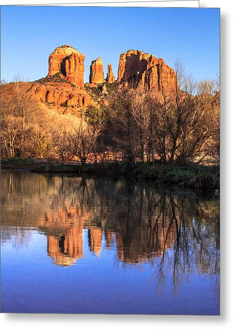 Red Rock Crossing Photographs Greeting Cards - Sunset at Cathedral Rock in Sedona AZ Greeting Card by Teri Virbickis