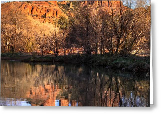 Sunset at Cathedral Rock in Sedona AZ Greeting Card by Teri Virbickis
