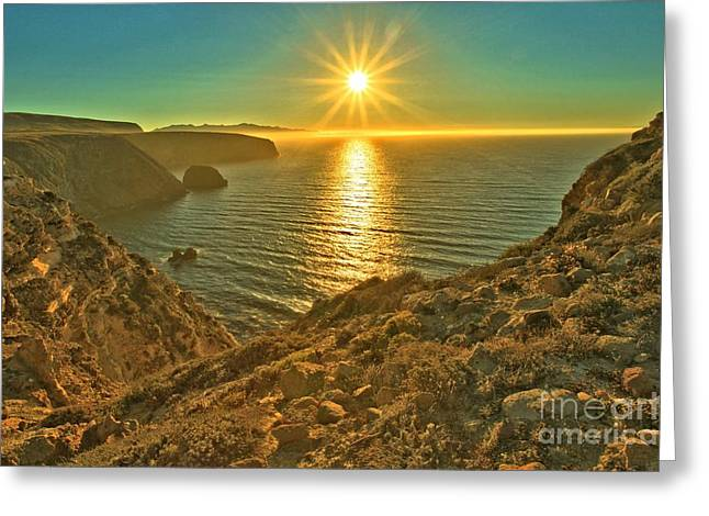 Cavern Greeting Cards - Sunset At Cavern Point Greeting Card by Adam Jewell