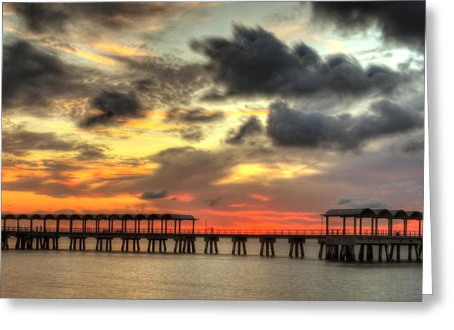 Fishing Creek Greeting Cards - Sunset at Clam Creek Fishing Pier Greeting Card by Greg and Chrystal Mimbs