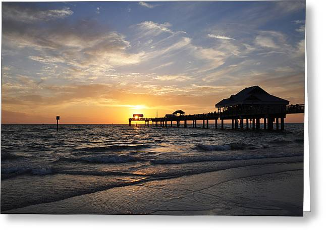 Sunset at Clearwater Greeting Card by Bill Cannon