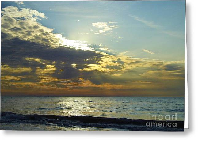 Reflection Of Sun In Clouds Greeting Cards - Sunset At Clearwater Greeting Card by D Hackett