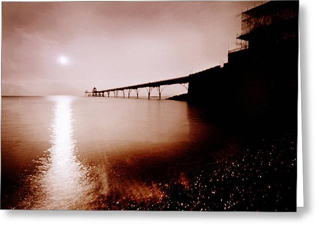 Clevedon Greeting Cards - Sunset at Clevedon Pier Greeting Card by Robert Down