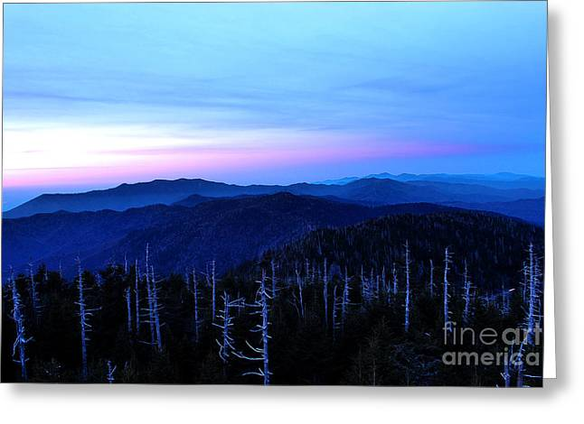 Smoky Digital Art Greeting Cards - Sunset at Clingmans Dome Greeting Card by Nancy Mueller