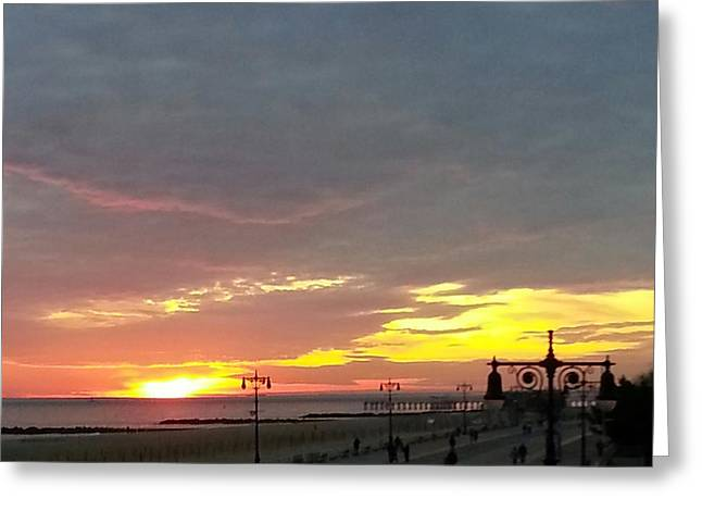 Water Reflecting At Sunset Greeting Cards - Sunset At Coney Island Greeting Card by John Telfer