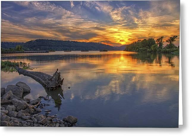 Jmpolitte Greeting Cards - Sunset at Cooks Landing - Arkansas River Greeting Card by Jason Politte
