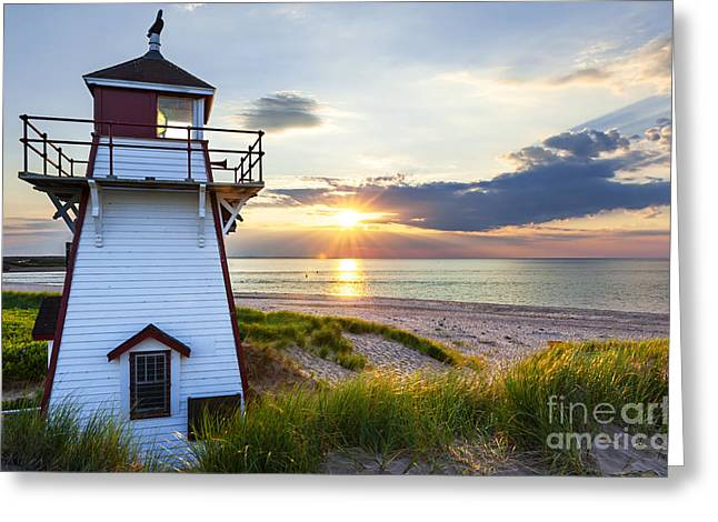 Canadian Greeting Cards - Sunset at Covehead Harbour Lighthouse Greeting Card by Elena Elisseeva