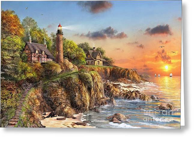 New England Ocean Digital Art Greeting Cards - Sunset at Craggy Point Greeting Card by Dominic Davison