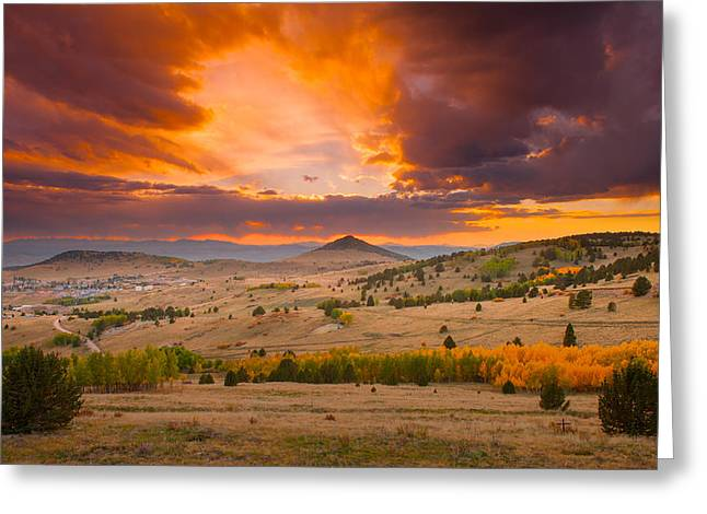 Sunset At Cripple Creek Overlook Greeting Card by Tim Reaves