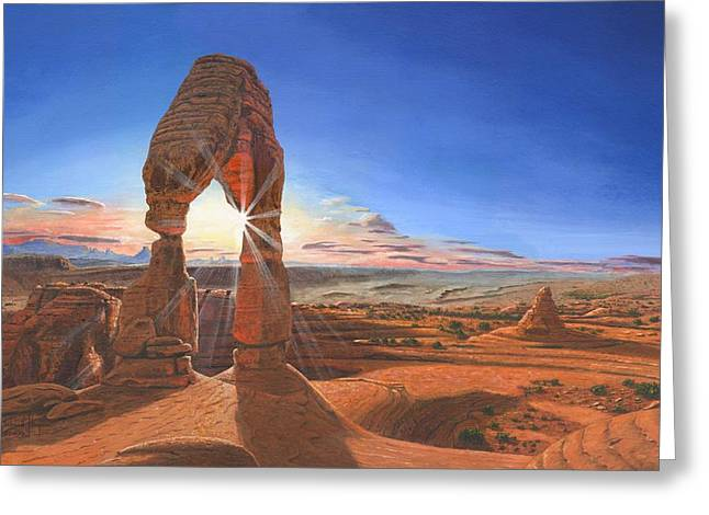 Deserts Greeting Cards - Sunset at Delicate Arch Utah Greeting Card by Richard Harpum