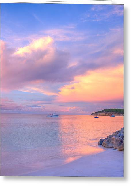 Dickenson Greeting Cards - Sunset at Dickenson Bay Greeting Card by Ferry Zievinger