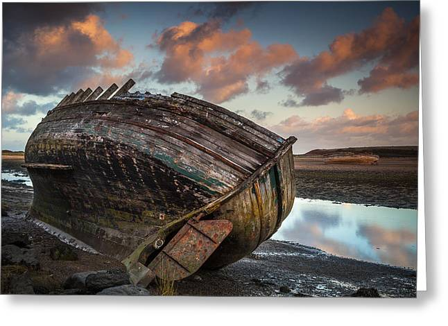 Wooden Ship Greeting Cards - Sunset at Dulas Bay Greeting Card by Christine Smart
