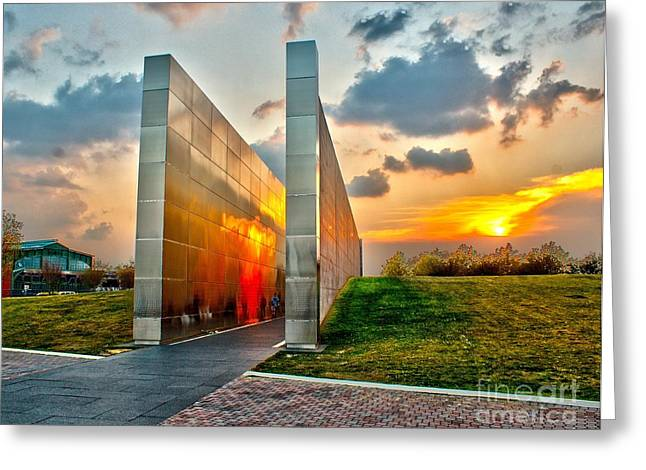 Wtc 11 Greeting Cards - Sunset at Empty Skies 9/11 Memorial NJ Greeting Card by Nick Zelinsky