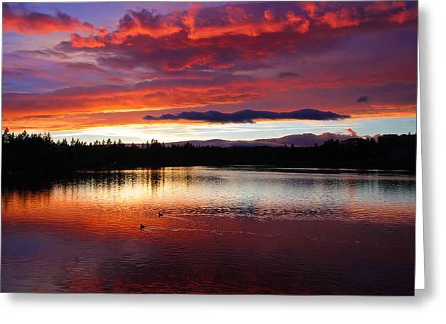 Sunset At Farewell Bend Park Greeting Card by Engin Tokaj
