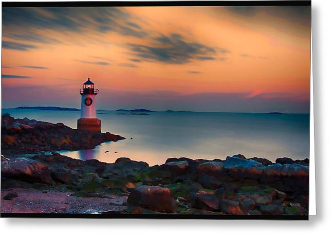 Solitude Greeting Cards - Sunset at Fort Pickering lighthouse Greeting Card by Jeff Folger