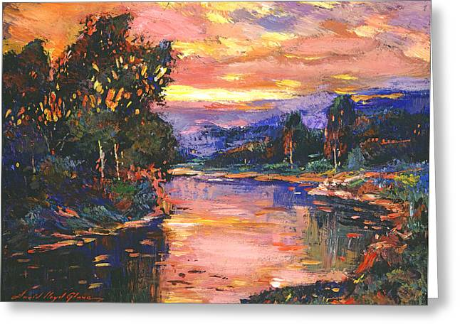 Clouds. Emotional Greeting Cards - Sunset At Gentle River Greeting Card by David Lloyd Glover