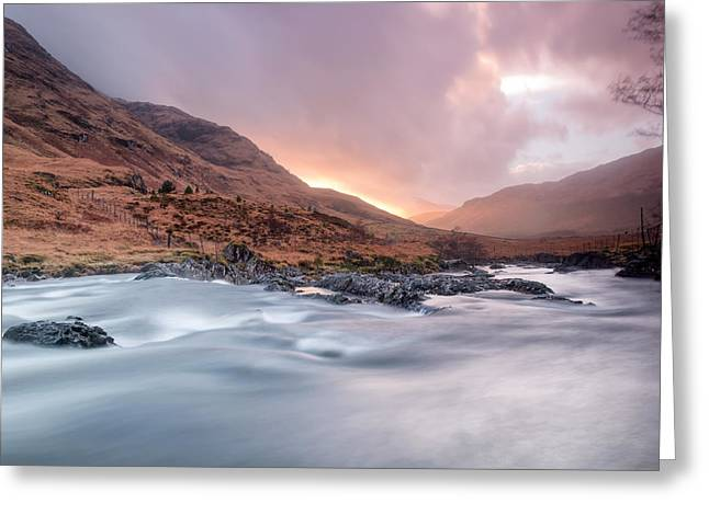 Highlands Of Scotland Greeting Cards - Sunset at Glen Etive Greeting Card by Chris Frost