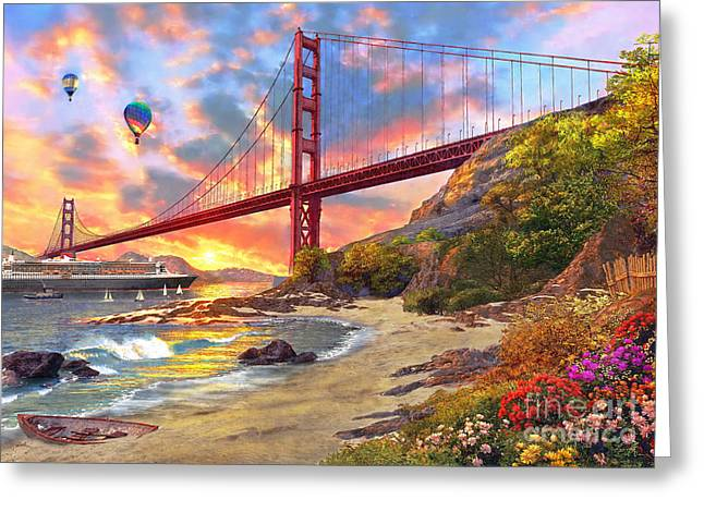 Golden Greeting Cards - Sunset at Golden Gate Greeting Card by Dominic Davison