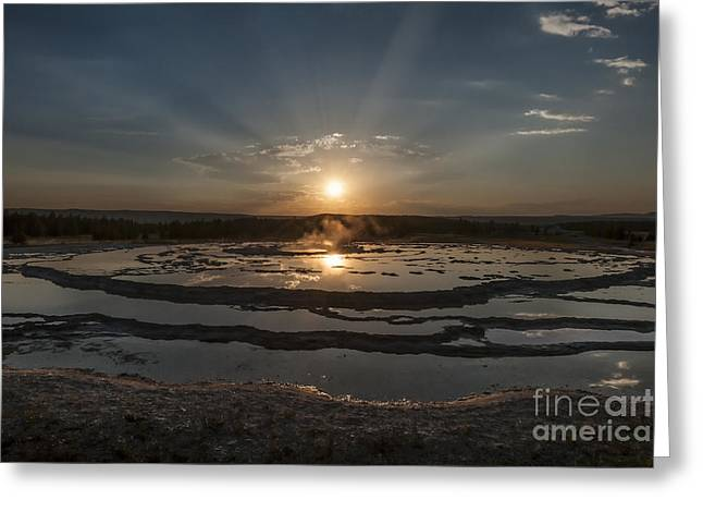 God Beams Greeting Cards - Sunset At Great Fountain Geyser - Yellowstone Greeting Card by Sandra Bronstein