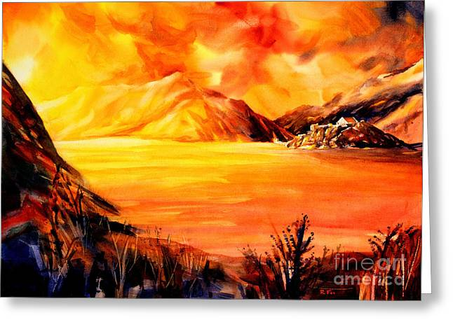 Swiss Paintings Greeting Cards - Sunset at Grimsel Pass in the Swiss Alps Greeting Card by Ryan Fox