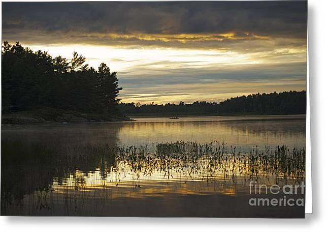 Canoe Greeting Cards - Sunset at Grundy Lake Provincial Park Greeting Card by Elaine Mikkelstrup
