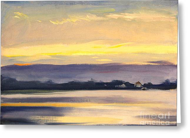 Sunset At Hamlin Lake 1944 Greeting Card by Art By Tolpo Collection