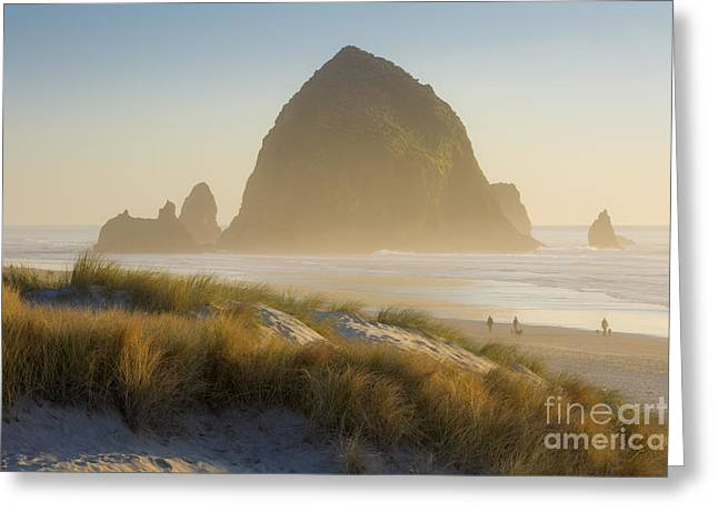 Sunset At Haystack Rock Greeting Card by Brian Jannsen